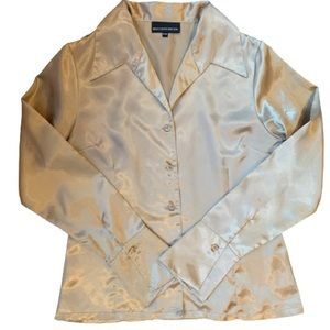 Gold Satin Button Up Blouse